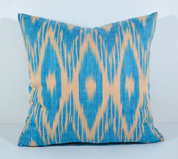 15x15 Throw Pillow Cover : 15x15 blue ikat pillow cover