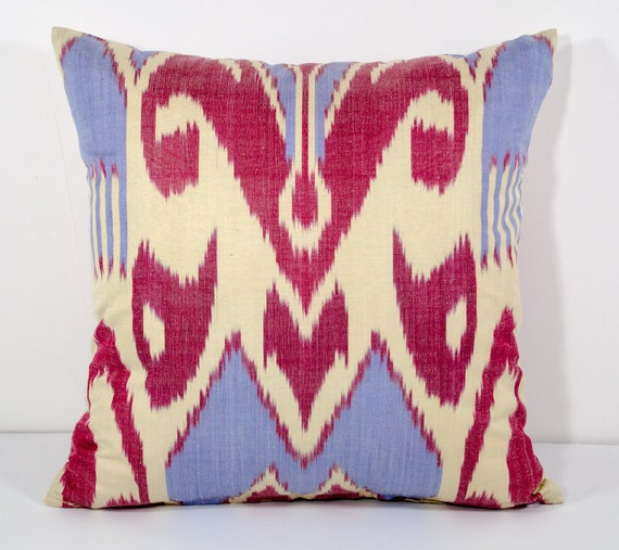 15x15 Throw Pillow Cover : 15x15 blue red cream ikat pillow cover blue red pillows blue