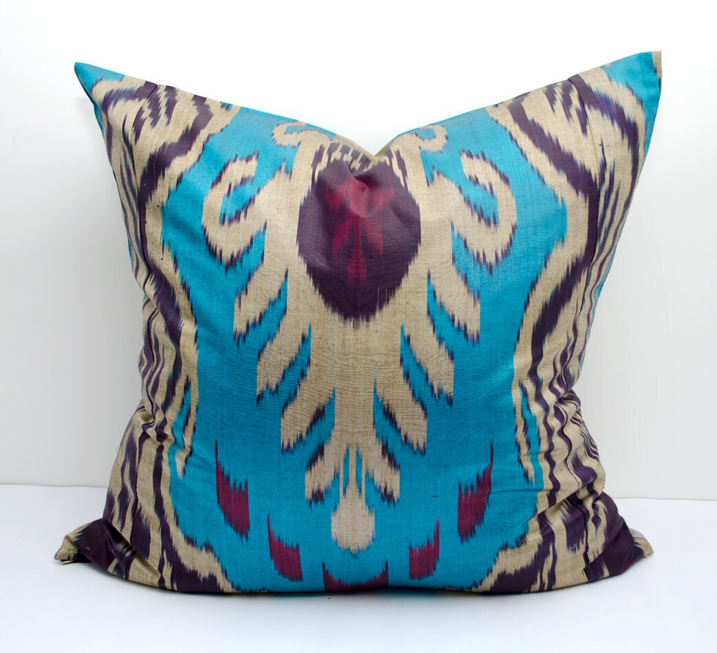 20x20 blue beige dark purple ikat pillow cover cushion case