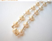 Pearl Necklace - Gold Filled Beaded Rosary Necklace Cultured Pearl Strand Beadwork Necklace