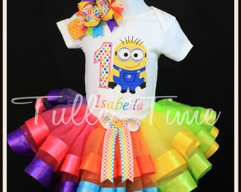 Rainbow Minion birthday onesie ribbon trim tutu dress size 6-12m, 12m, 18m, 24m, 2t, 3t, 4t, 5t