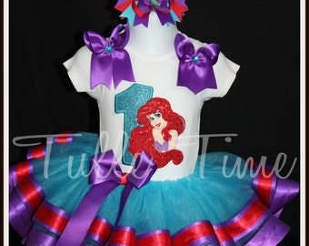 Embroidred 1st 2nd 3rd 4th Number Ariel Little Mermaid birthday ribbon tutu dress size 12m 18m 2t 3t 4t 5t 6 7/8