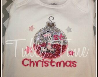 Pink silver 1st First Christmas body suit onesie shirt sizes newborn, 0-3m, 3-6m, 6-12m 12m 18m 24m