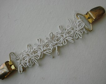 Dress clip  Gold Tone With White Intricate Fabric FREE SHIPPING