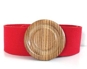 Vintage Wood Circle and Red Elastic Belt