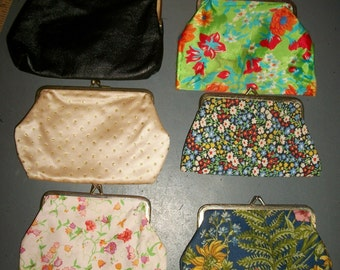 Vintage Lot of Fabric Coin Purses