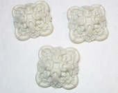 3 Large off White Ornate Buttons