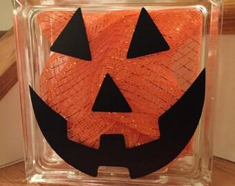 Halloween Lighted Glass Block - Jack o'Lantern / Pumpkin