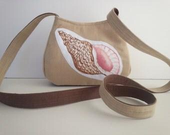Seashell Purse, Nautical Purse, Summer Purse, small crossbody bag, Tropical fabric, Seashell Fabric, cute purse, RTS Item #CJF77-1003