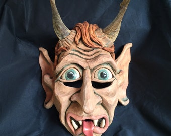 Krampus hand carved mask-decoration