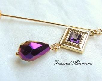 Hijab pin, Purple Crystal Dangle Hijab pin, Scarf pin, Shawl Pin, Wedding Bridesmaids gift, Holiday gift, Winter accessory, Teardrop crystal