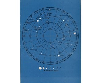 1946 astronomy star map original vintage celestial print - map 1 -