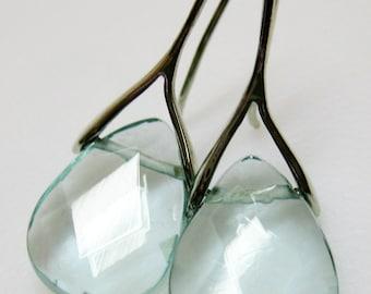 Light Aqua Teardrop Earrings - Blue Glass Earrings - Czech Glass Earrings - Aqua and Silver Earrings - Womens Jewelry - Glass Jewelry
