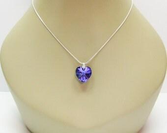 RESERVED for Sabrina Purple Swarovski Crystal Heart Pendant Necklace