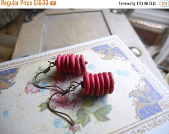 Chinese Paper Lanterns. Vintage raspberry pink wooden coin saucer bead earrings.
