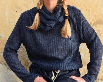LAST SALE 50% off!!!!!Blue XXXL collar, soft knitted sweater in dark blue