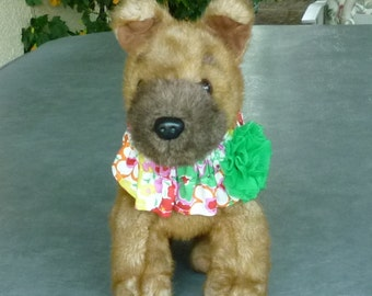 "Red, Pink and Orange Floral Dog Scrunchie Collar - green rosette - Size XS: 10"" to 12"" neck"