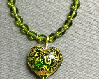 Murano glass heart necklace in olive green