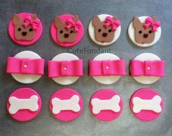 12 French Bulldog fondant cupcake toppers