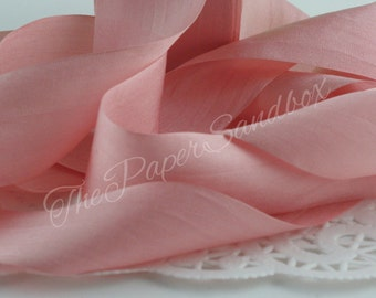 """Dusty Pink/Rose Quartz Silk Ribbon, 1.25"""" wide by the yard, Weddings, Sewing, Gift Wrapping,  Bouquets, Invitations, Party Supplies"""