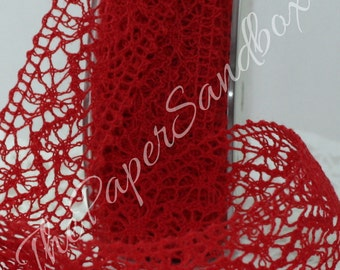 """Red Crochet Lace Ribbon 1.5"""" Wide by the yard, Red Lace Trim, Gift Wrapping, Christmas ribbon, Crafts, Weddings, Party Supplies"""