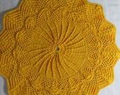 Gold Doily-13 inch Doily-Textured Mary Werst Doily-Hand Crocheted Cotton Unisex Housewarming Doily-Cindy's Loft
