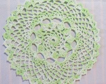 Ice Green Doily-8 inch Doily-Varigated Doily-Hand Crocheted Egyptian Cotton Doily-Cindy's Loft