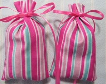 "Pink 3""X2"" Sachet-'Cherry Vanilla' Fragrance-Pink and Turquoise Sachet-Pink Ribbon-Cotton Fabric Herbal/Botanical Sachet-Cindy's Loft-099"