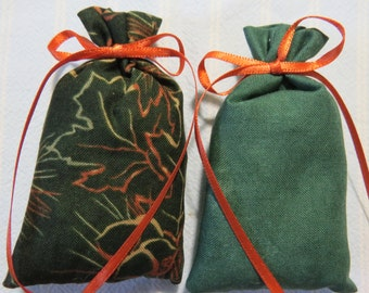 "Green 3""X2"" Sachets-'Cool Water'(type) Men's Cologne Fragrance-Masculine Father's Day Sachets-Cotton Sachet-Orange Ribbon-Cindy's Loft-041"