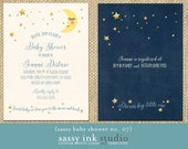 Baby Shower Invitation - Dream Big Little One - Customized Baby Shower invite- Love you to the Moon and Back invite (no. 07)