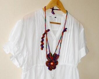 Multicolor Crochet Necklace  Handmade Large Crochet Flower with Center Beads