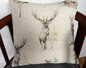 HARRIS TWEED cushion cover, Scottish stag, Stag pillow cover, handwoven in Scotland