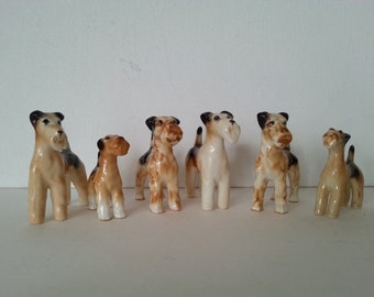 Nice Lot of 6 Vintage Airedale Dog Bone China Figurines - Shiken - Made in Japan