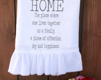 Shabby Chic, Cottage, Farmhouse, Kitchen Decor, Tea Towel, Flour Sack Towel, Hostess Gift, Wedding Gift (home def) Ruffle