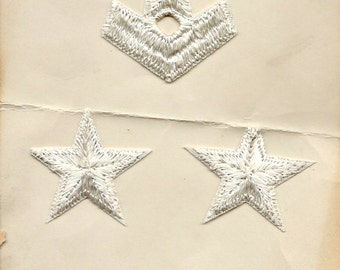 1940s USA White Middy Navy Emblems  Appliques of 2 Stars , 1 Anchor and 1 Eagle