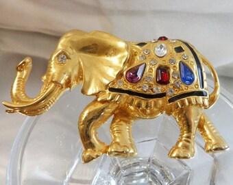 FALL SALE Vintage Rhinestone Elephant Brooch. Large Black Enamel Bejeweled Elephant Pin.  Lucky Trunk Up. Political. Republican.