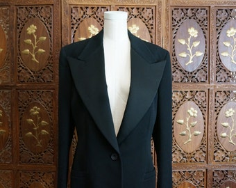 Gianni Versace Couture Black Wool Tux Jacket  Italy 44 US 10