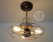 Vintage INDUSTRIAL Light Cage Reserved for ERIN Shown with Filament Edison Bulbs Upcycle Recycle Repurpose