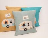 Vintage Camper pillow, happy camper, camper decor, home decor, camping pillow, travel pillow, throw pillow, decorative pillow, handmade