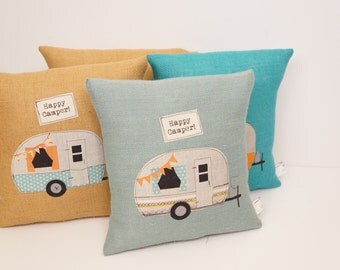 Vintage Camper pillow, happy camper, camper decor, home decor, camping pillow, travel pillow, throw pillow, decorative pillow, handmade