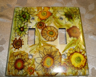 FLOWERS - Hand Painted Light Switch Plate, Double Switch, Earth Tones