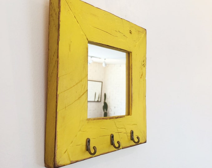 "Entryway Mirror with Three Key Holder Hooks - Choose Your Size & Color - 2.25"" Reclaimed Pine Mirror - Sizes: 4x4, 4x6, 5x5, 5x7, 4x10, 8x10"
