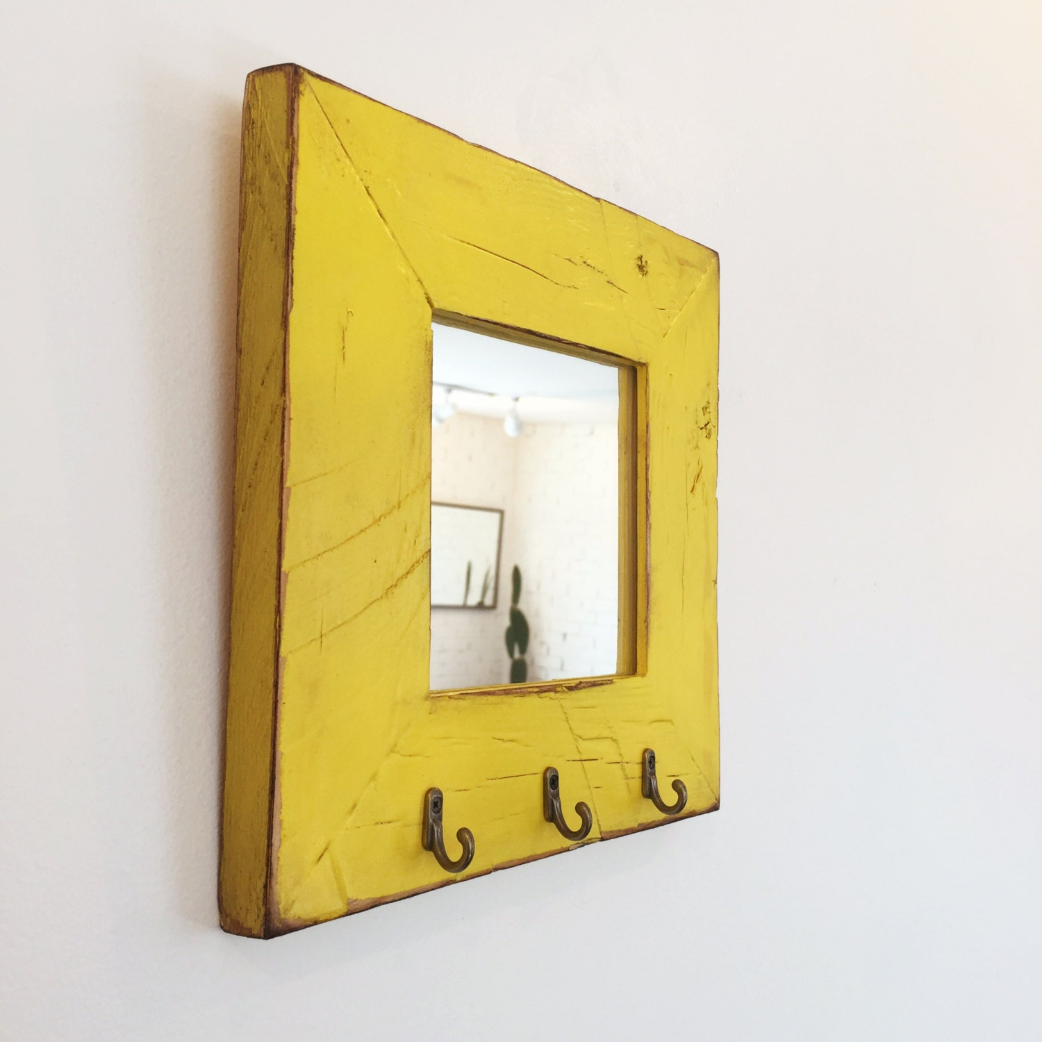 Entryway mirror with three key holder hooks choose your size for Mirror key holder