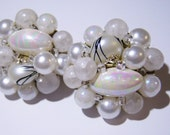 clip on earrings, vintage frosted white cluster clip on earrings with oblong bead marked Japan on the clips 1015D