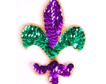 """XR355s Fleur De Lis Applique Mardi Gras Beaded Sequin 4"""" (XR355s-mg)"""