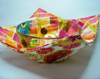 Microwave Bowl Cozy - Tossed Paisley on Cream - Bowl Pot Holder - Reversible -  Ready to Ship