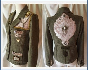 STEAMPUNK Blazer, Jacket, Size Small, Old Navy NWT, UPCYCLED, Art To Wear, Victorian