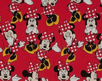 Custom Fitted Crib ~ Toddler Bed Sheet - Minnie Mouse ~ Poses ~ Red