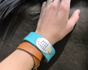 """Spoon Bracelet, """"Hold Your Horses"""" Truquoise Leather Cuff Bracelet with Stamped Spoon, Re Purposed Belt Cuff, Leather Cuff, Spoon Cuff"""