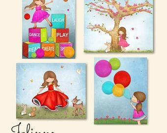 Kids room decor, girls room art, art for nursery, children decor, set of 4 images,art for kids room,Children wall decor,nursery art girl